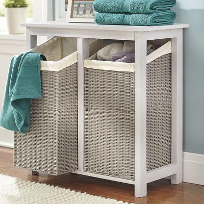 Double Hamper Laundry Room Storage Shelves Bathroom Hampers