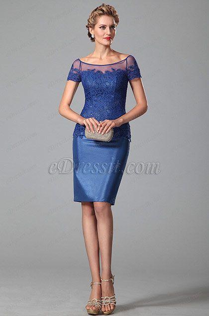 Robe bleu roi dentelle