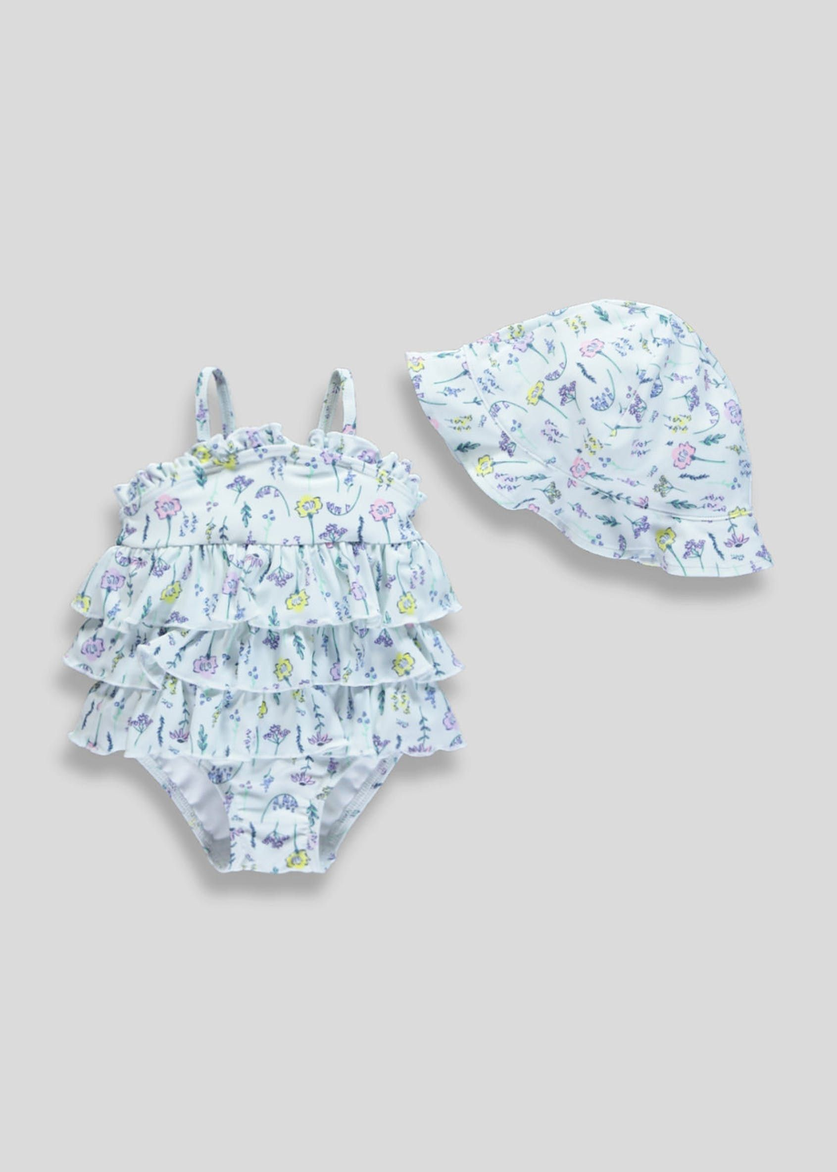45b065188 Girls Floral Swimming Costume & Swim Hat Set (Newborn-12mths ...