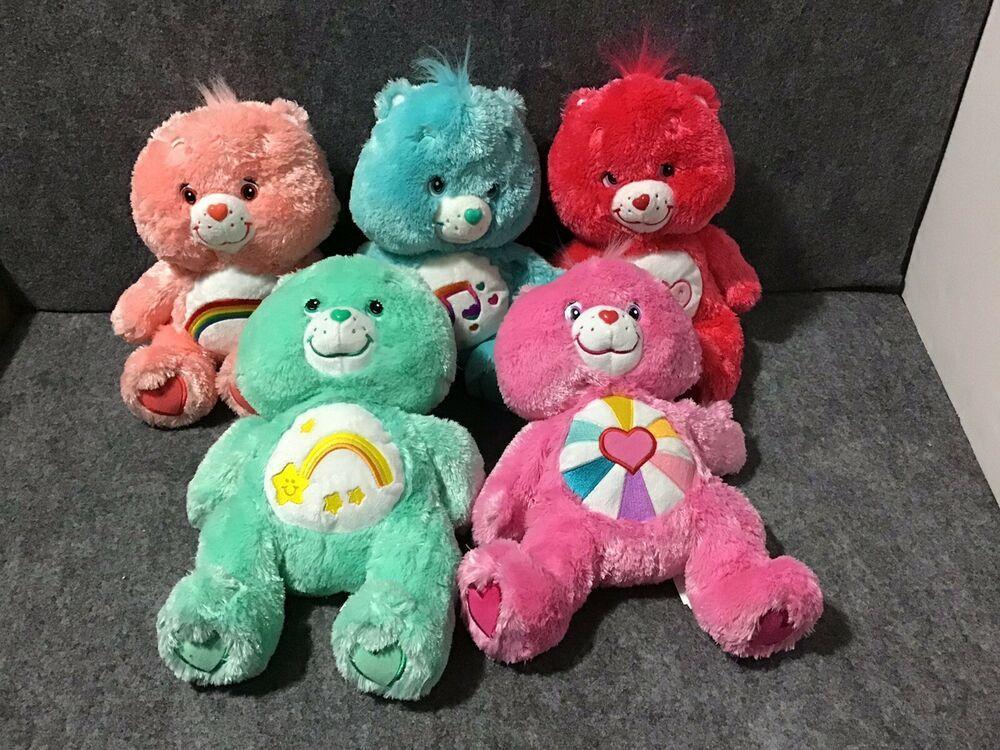 Fuzzy Floppy Lot Of 5 Care Bears 12 Collectible Stuffed Plush Toys Ebay Plush Toys Plush Fuzzy