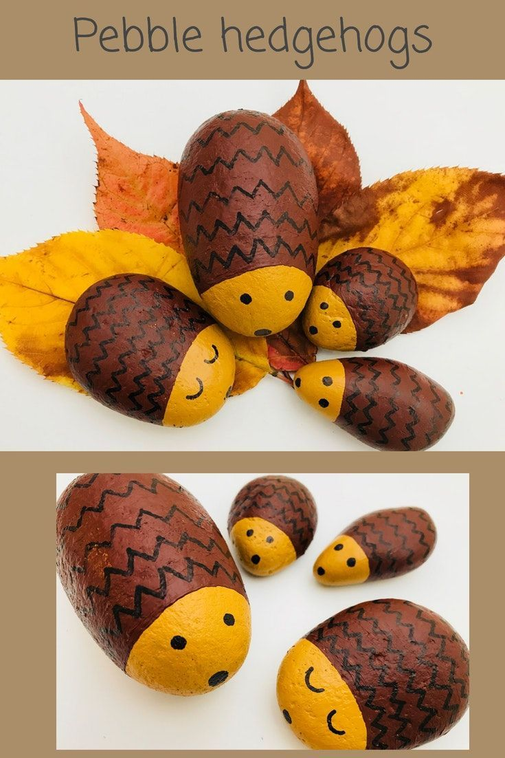 Pebble Hedgehog Family #autumncrafts