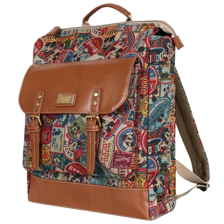 Disney Mickey Pattern Preppy Vintage Style Multi Purpose Backpack Rucksack(bag-061-1)