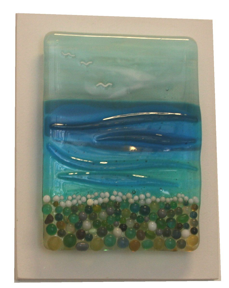 Row of beach huts curved fused glass table clock - Pebble Beach Fused Glass Panel On Board By Nicky Exell 80