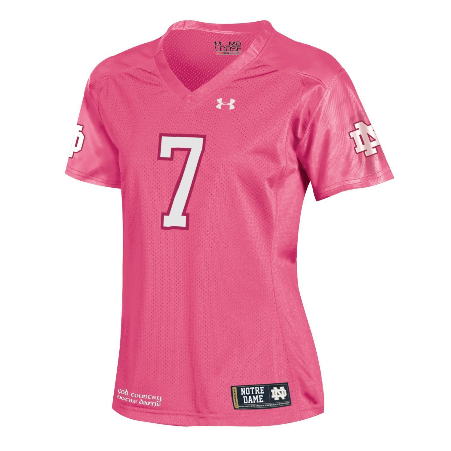 ... notre dame fighting irish under armour 7 women pink sideline football  jersey 8325a4711