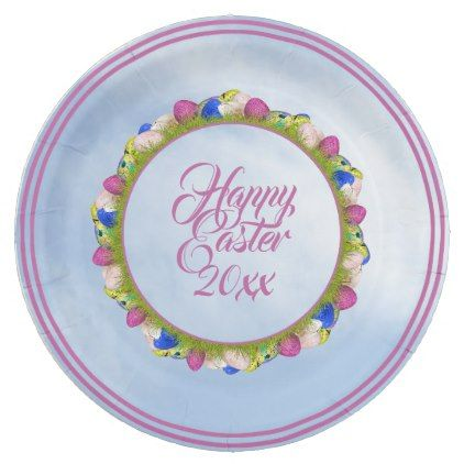 Delightful Happy Easter U0026 Yr   Floral Photography Easter Eggs Paper Plate   Initial  Gift Idea Style Awesome Design