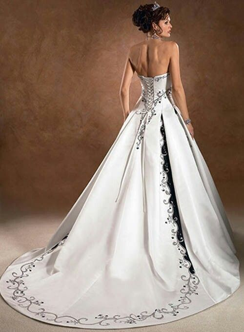 Satin Pretty A-line Strapless Embroidered Wedding Dresses ...