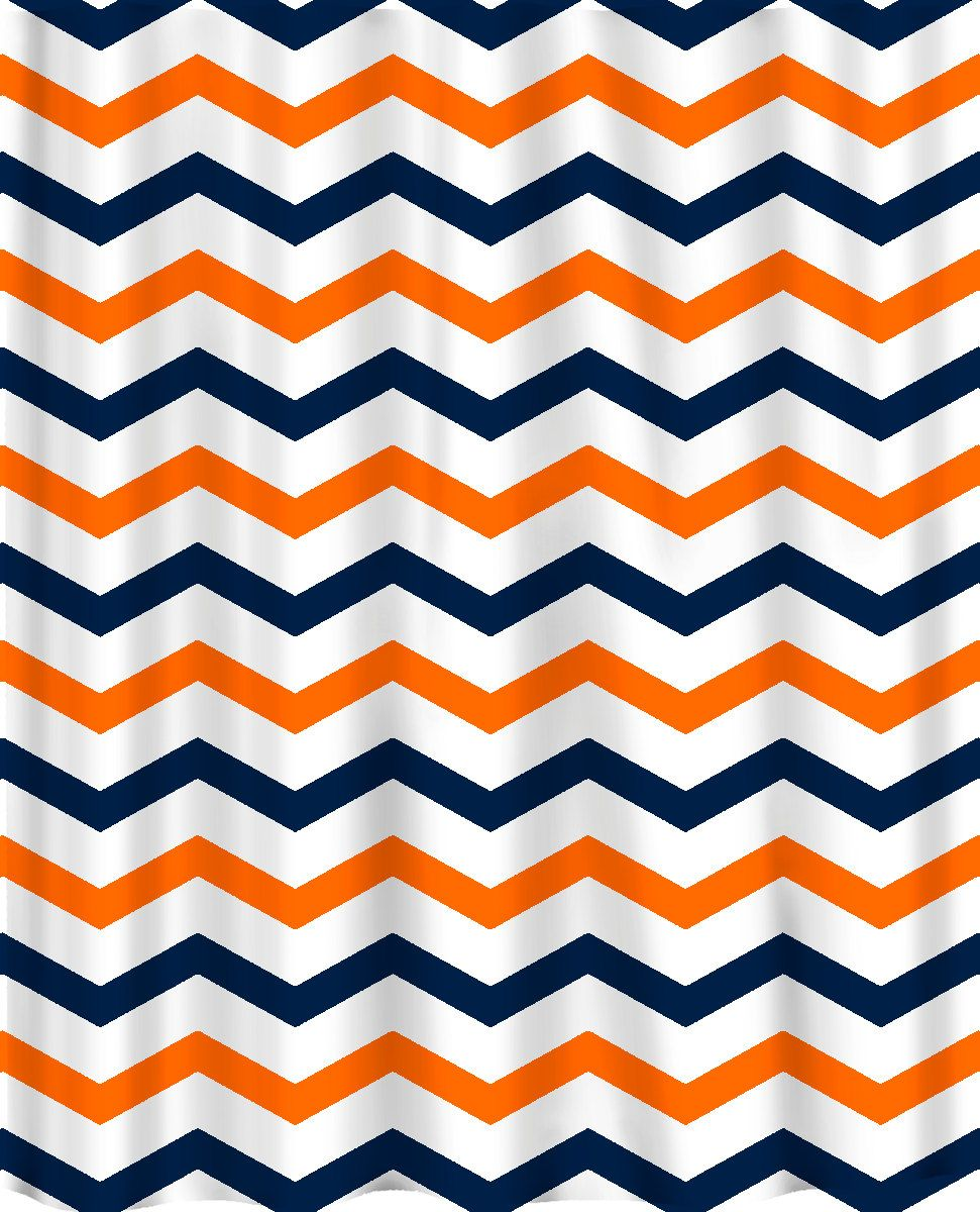 orange and navy shower curtain. Custom Colors Shower Curtain  Chevron Navy Orange and white design ANY color of your