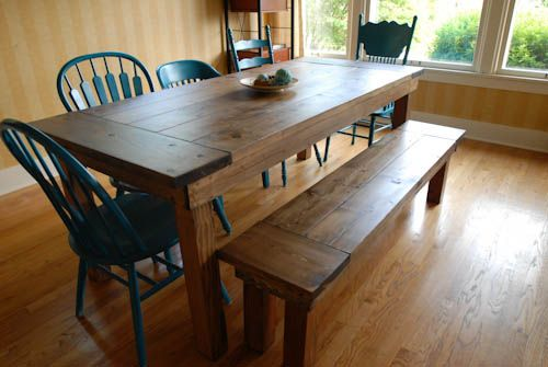 Step by step farmhouse table and bench with mismatched chairs from domesticated-engineer.com