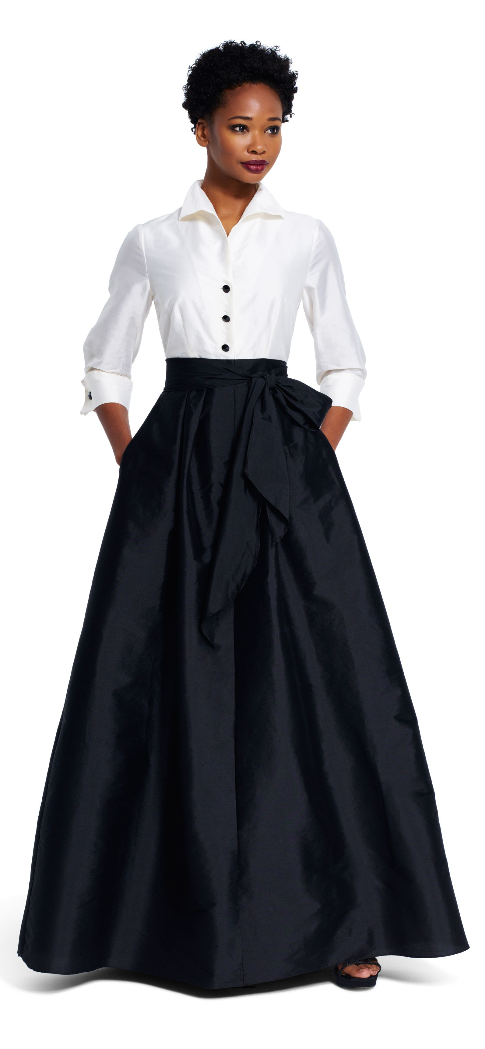 Taffeta Blouse Ball Gown with Tie Waist | Ball skirt, High low and ...