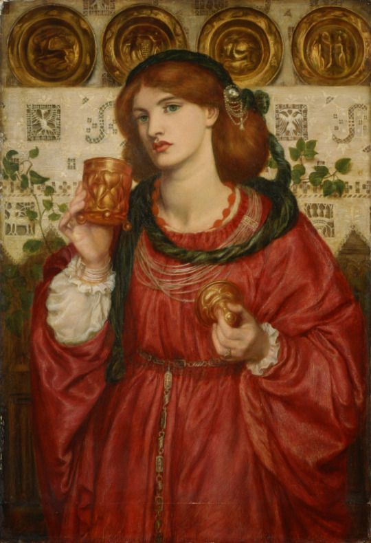 Dante Gabriel Rossetti, The Loving Cup, 1867, oil on panel, 66 x 45.7 cm, The National Museum of Western Art, Tokyo. Source  The Loving Cup was painted at the height of Rossetti's femme fatale period. Its frame is inscribed with a line of poetry believed to be written by the artist himself: Douce nuit et joyeux jour, A chevalier de bel amour - or 'Sweet night and pleasant day, to the beautifully loved knight'.