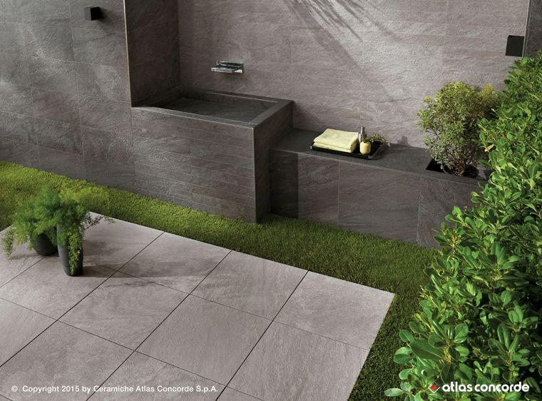 Stone look porcelain tiles for outdoor spaces: Brave by Atlas ...