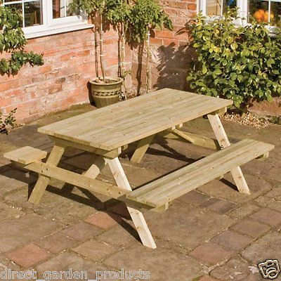 4ft Wooden Picnic Bench Pub Wood Garden Benches Pressure Treated Timber Seat New Garden Benches Garden Patio Garden Bench Table Picnic Table Picnic Bench
