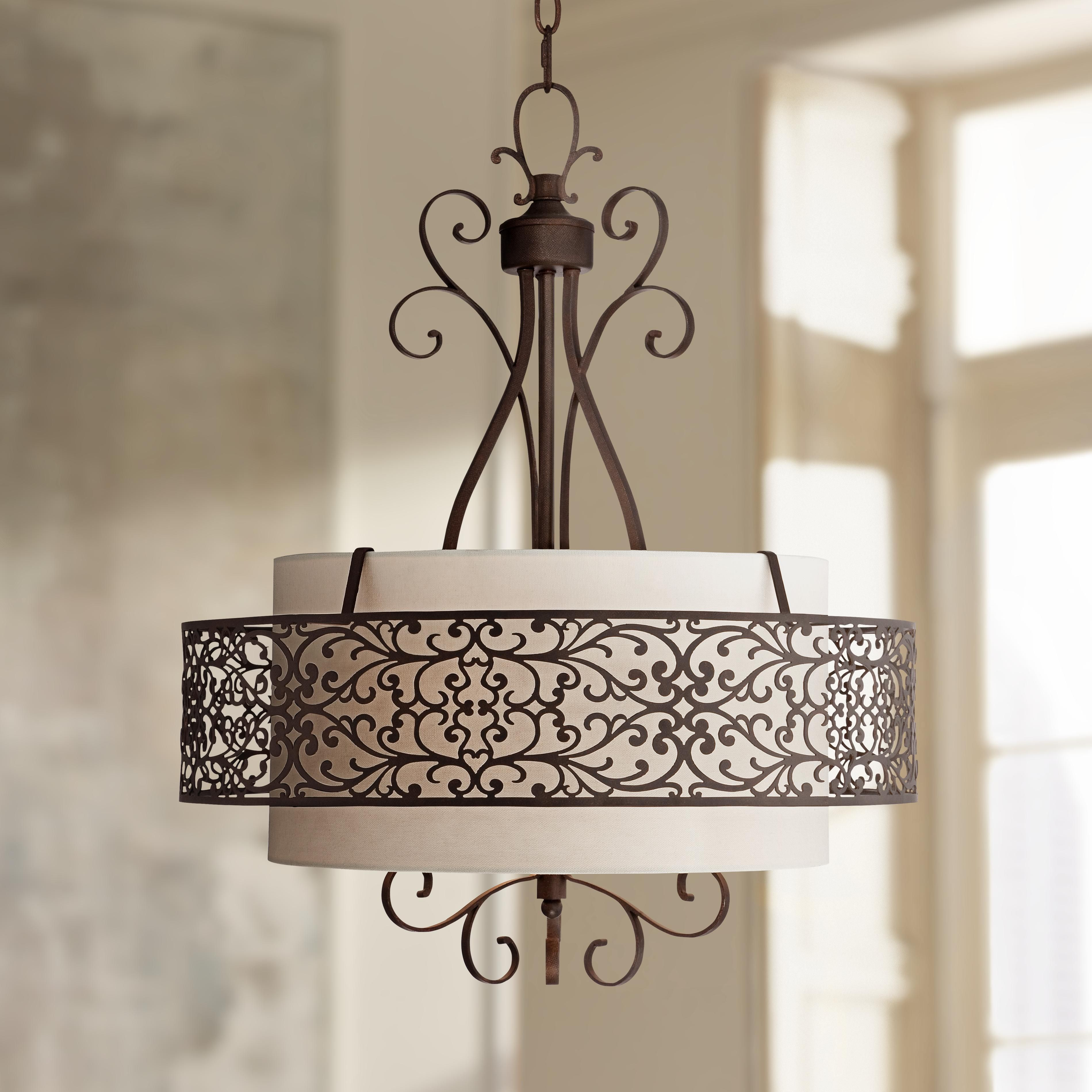 "Casual Dining Room Chandeliers: Chantal 21"" Wide Bronze Filigree Pendant Light"