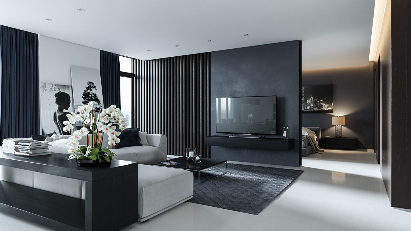 3d visualization of small apartment in modern style on beautiful modern black white living room inspired id=88134