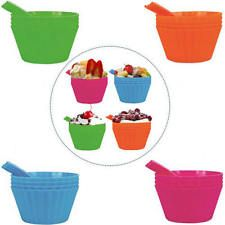 4 X Plastic Dessert Bowl Bold Vibrant Style With Spoons For BBQ Picnic Ice Cream