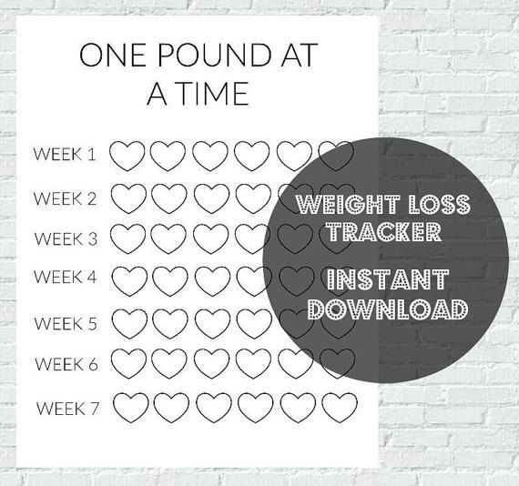 PRINTABLE WEIGHT LOSS TRACKER This cute weight loss tracker can be