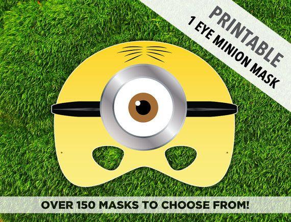 Halloween Mask Paper Masks Printable Mask Minion Mask One Etsy In 2020 Minion Mask Minions Minions Cartoon