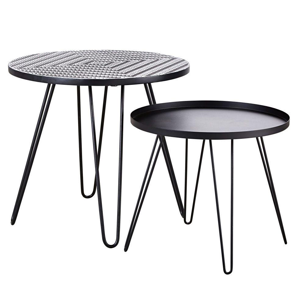 Tables Basses De Jardin En Faience A Motifs Et Metal Noir X2