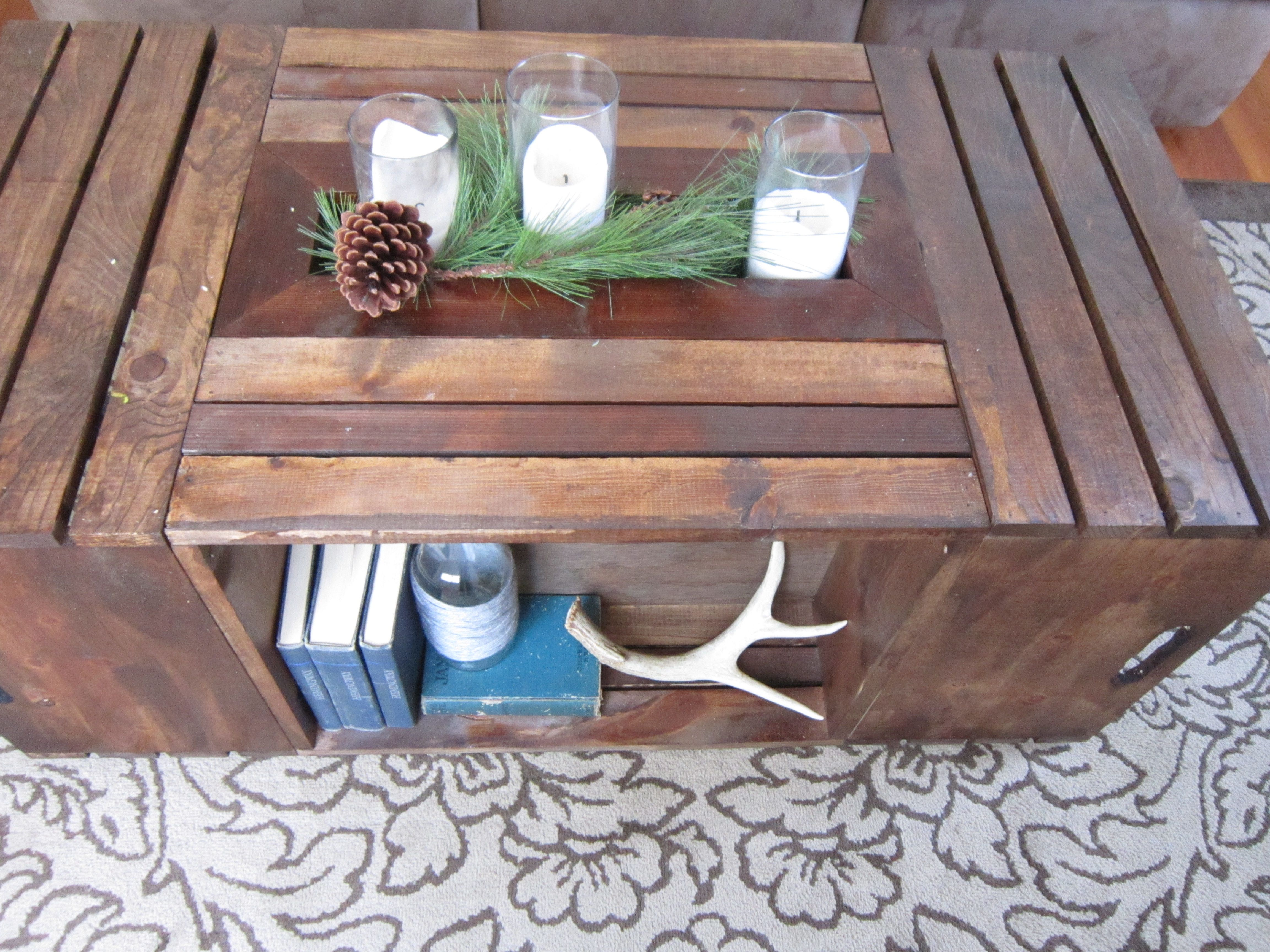 Rectangular Crate Coffee Table. Boards Cut Separately, Assembled, Stained.  Center Has Section