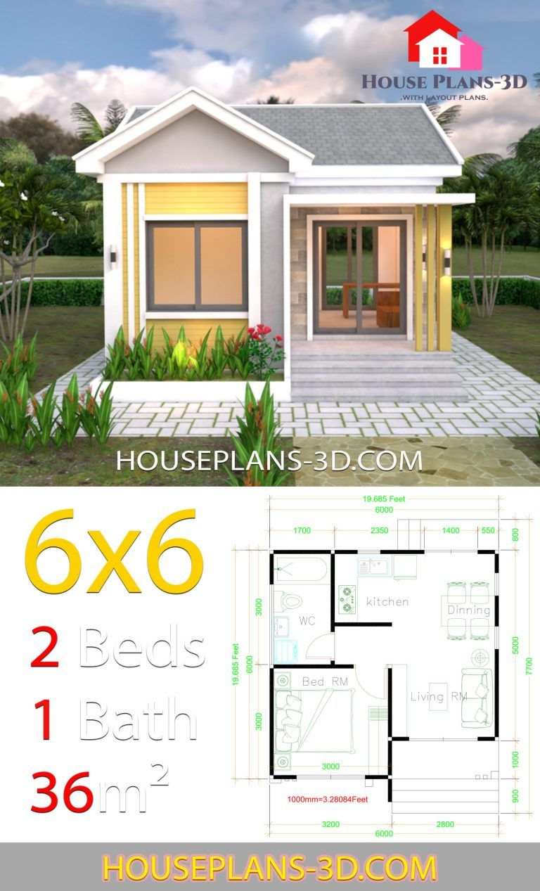 House Design Plans 6x6 With One Bedrooms Gable Roof Samphoas Plan In 2020 Small House Design Plans My House Plans Gable Roof House