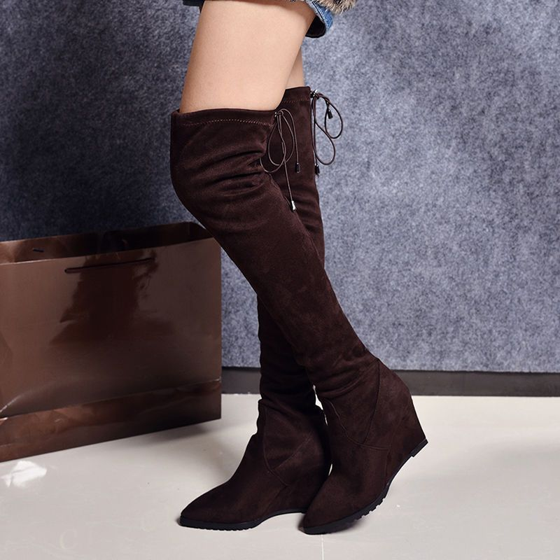 Pointed Toe Stretch Slouchy Over The Knee Thigh High Wedges Women'S Boots