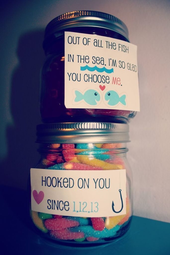 Candy jar with love message 3 gift ideas pinterest jar boyfriends gift oh my god freakin adorable i would still do gummy worms but add a gift card for sushi to the swedish fish my man loves some sushi negle Choice Image