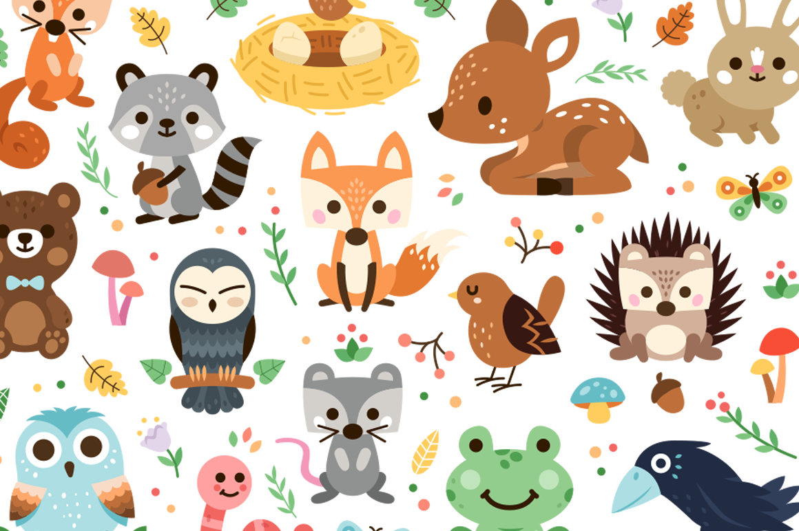 Woodland Decoration Animal Clipart 52555 Characters Design Bundles In 2021 Animal Clipart Woodland Decor Woodland Animals