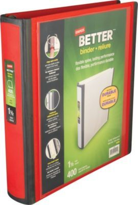 Staples Better 1 5 Inch D 3 Ring View Binder Red 18369 At Staples Emergency Binder Binder Diy Magazine Holder