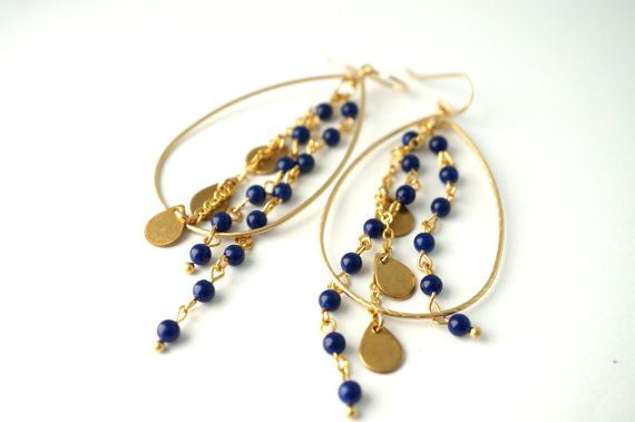 Navy and Gold Statement Earrings Vintage Beaded by 3MariesDesigns, $38.00