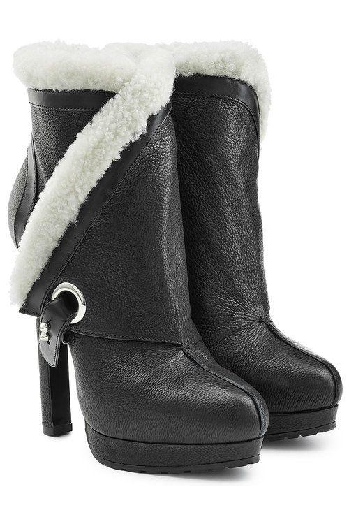 Alexander McQueen Leather and Velvet Ankle Boots Gr. IT 38.5 j84JZj