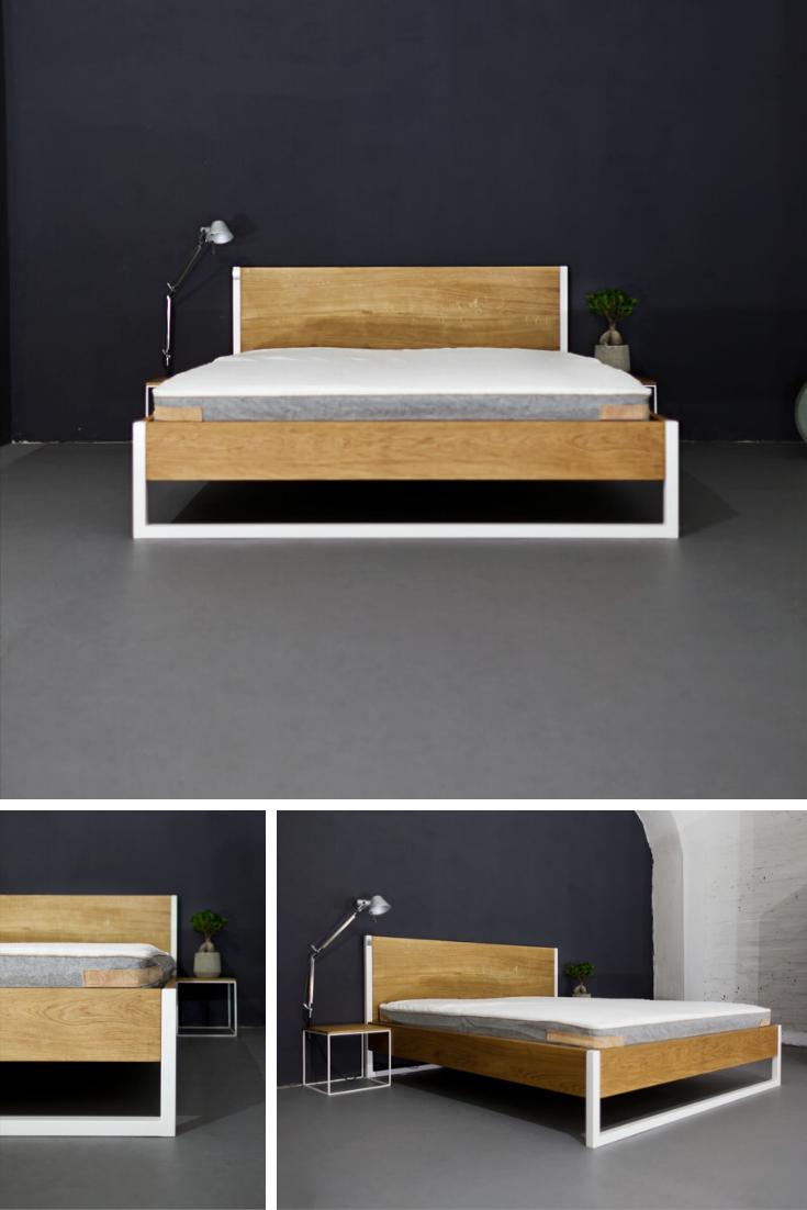 Das moderne Bett (aus Massivholz & Stahl) NATURE OAK im Industrial Design lässt sich auch in den skandinavischen Stil integrieren. Das Holzbett mit Kopfteil und Stahl Beinen wird in liebevoller Handarbeit aus massiver Eiche gefertigt. Jetzt das Bett aus Massivholz im modernen Design online kaufen bei Satamo.de! // Loft Betten, Loft Möbel, Massivholz Bett Eiche, Bett Holz schlicht, Bett Eiche Stahl, Design Bett Holz #loft #industrial #bett #massivholz #wohnidee #n51e12
