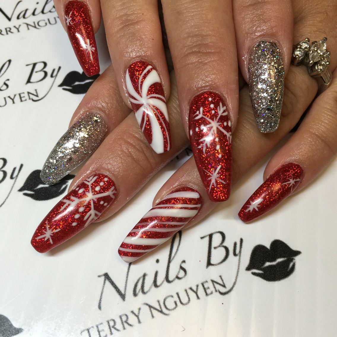 Christmas Themed Acrylic Nails Christmas Nails Nails Holiday Nails