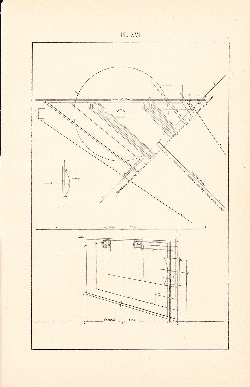Blueprint Interior Design 1886 technical drawing  antique math geometric mechanical