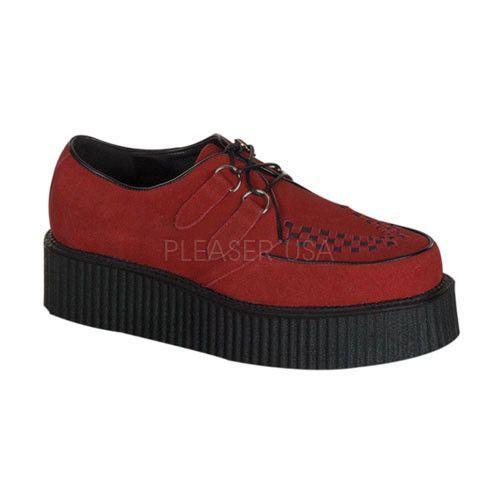 Herren Casual Retro Schuhe Demonia Creeper 402S Rot Suede