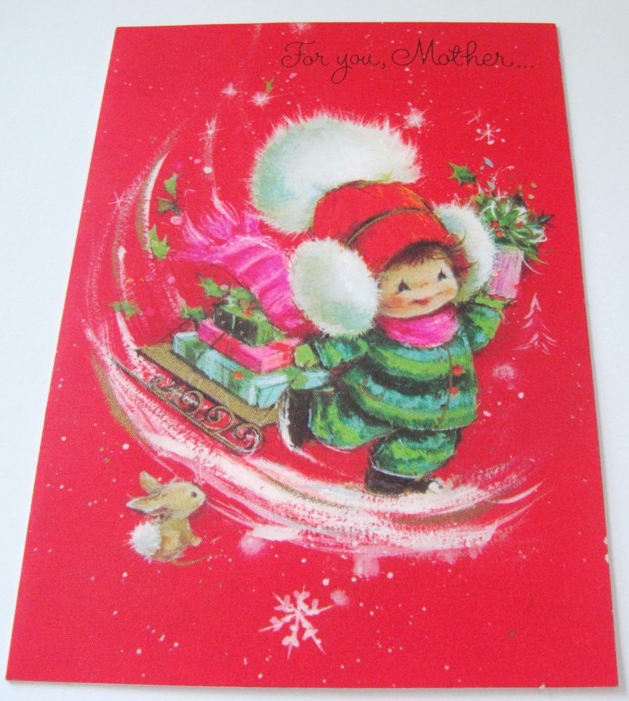 Used Vtg Christmas Card Hallmark Charmers Girl in Snow Suit w Sled ...