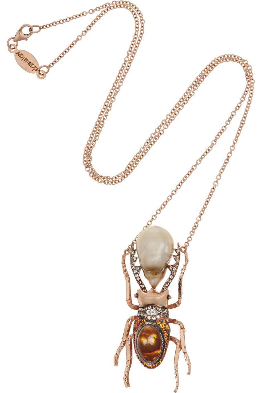 Daniela Villegas Jewelry necklace gold rose gold Multi stone