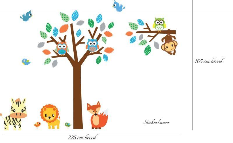 Kleurrijke muursticker boom met uilen