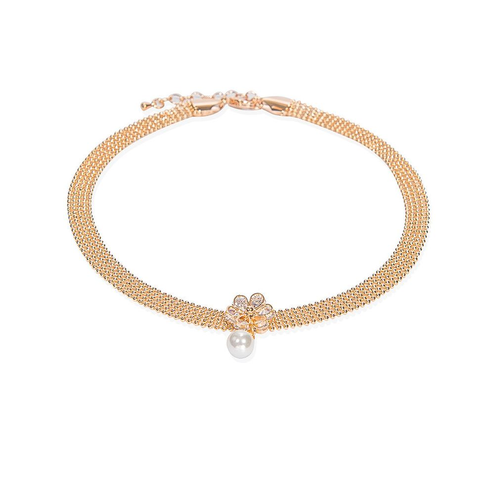 Pearl Gold Beaded Choker Necklace Collar Rose Gold Plated Costume