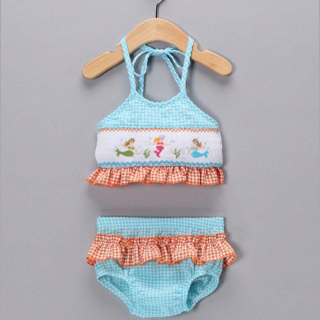 f15bf4618c351 Smocked mermaid toddler bathing suit | maybe baby | Baby bikini ...