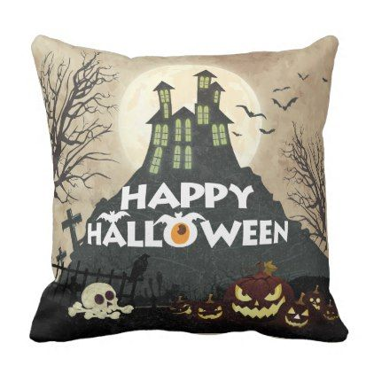 Spooky Haunted House Costume Night Sky Halloween Throw Pillow - unique halloween decor