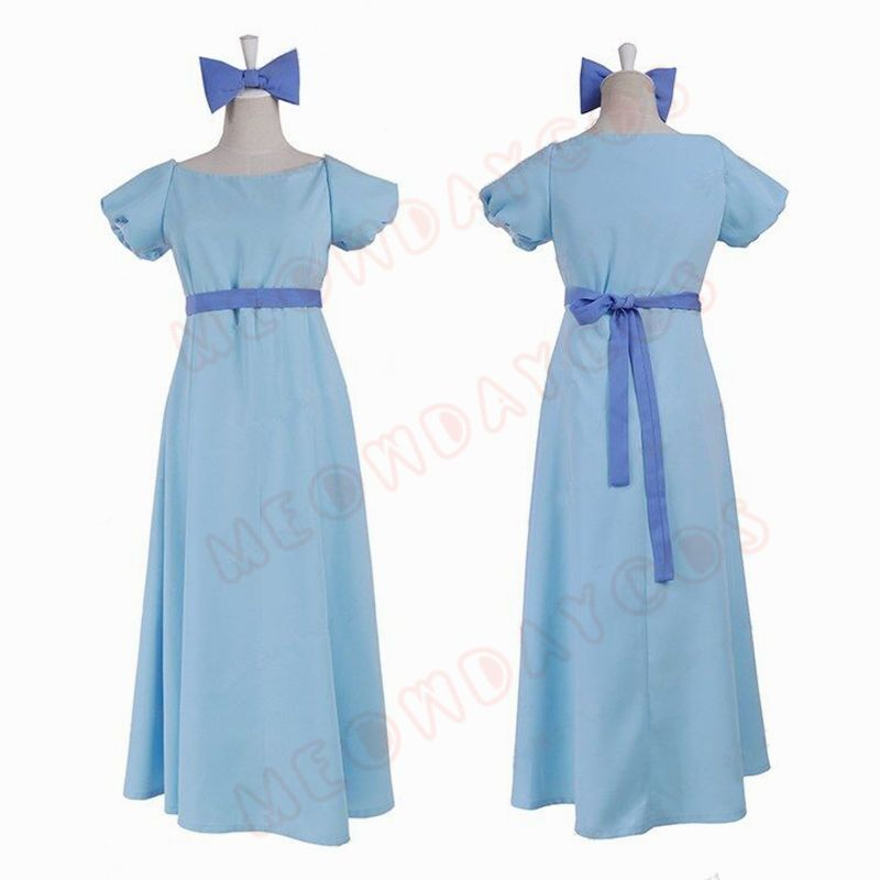 NEW Peter Pan Wendy Cosplay Blue Fancy Dress Halloween Costume