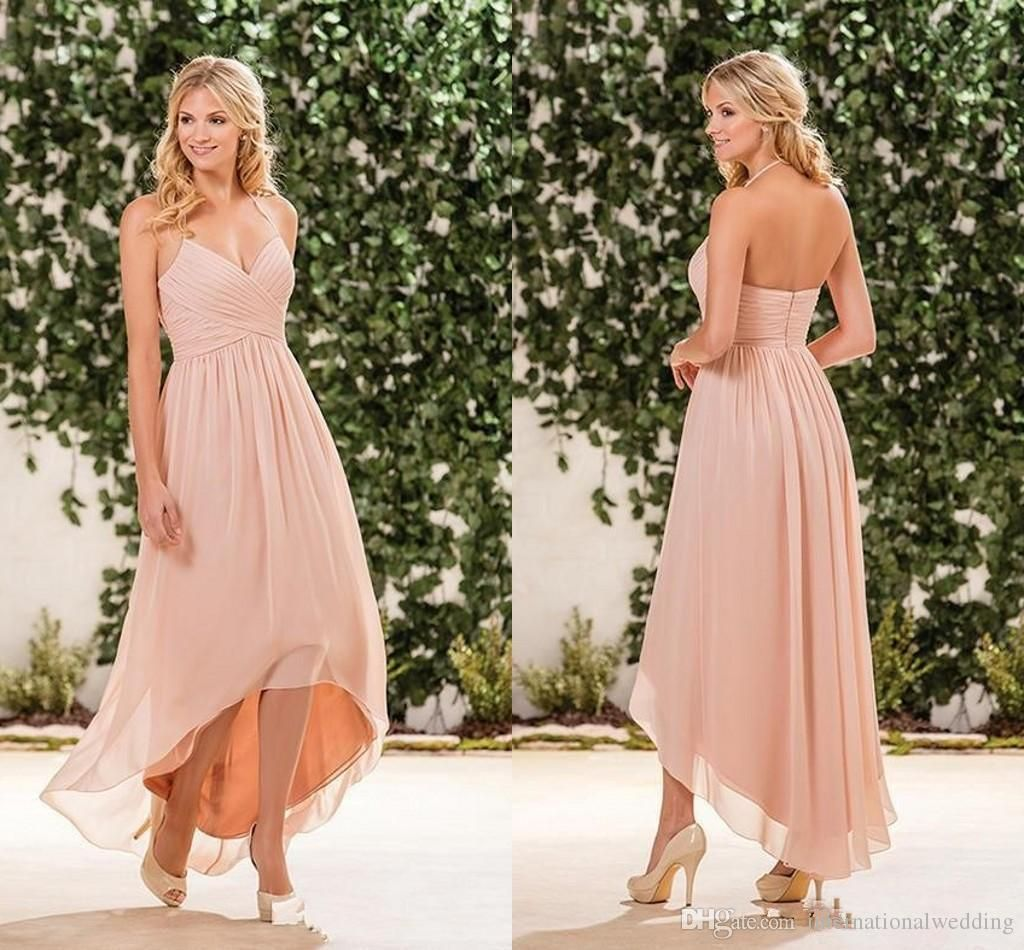 2017 Cheap Beach Blush Pink Bridesmaid Dresses Halter Chiffon High Low Length Wedding Guest Wear Party