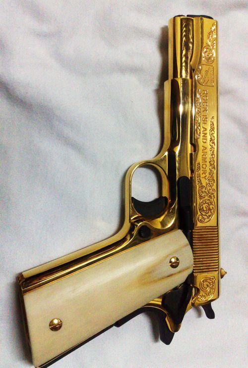 Golden Gun Beretta 96 Compact Custom Grips Guns Hand Guns
