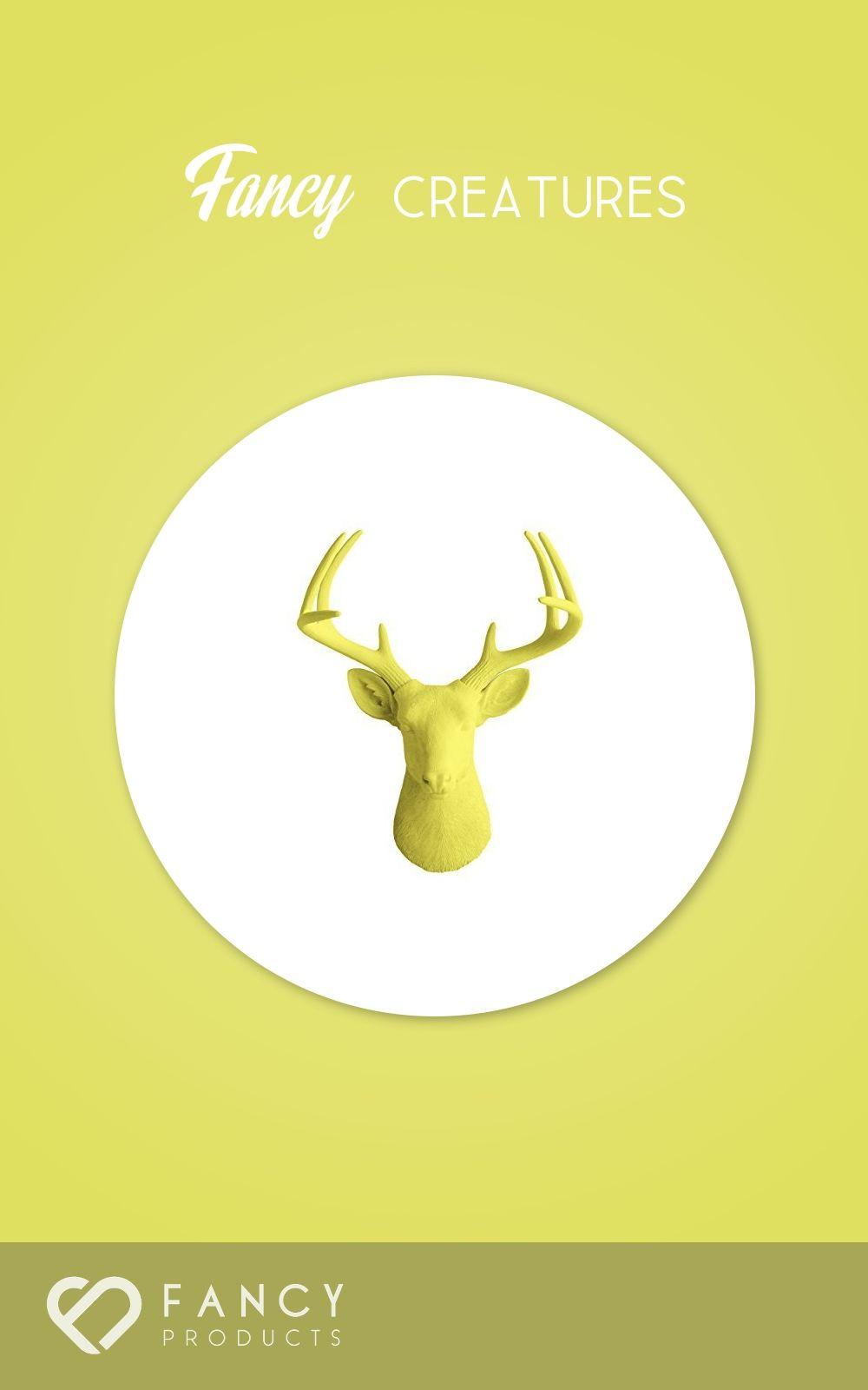 84.99$ - Deer Head by Wall Charmers | Yellow Faux Head Mount Bust ...