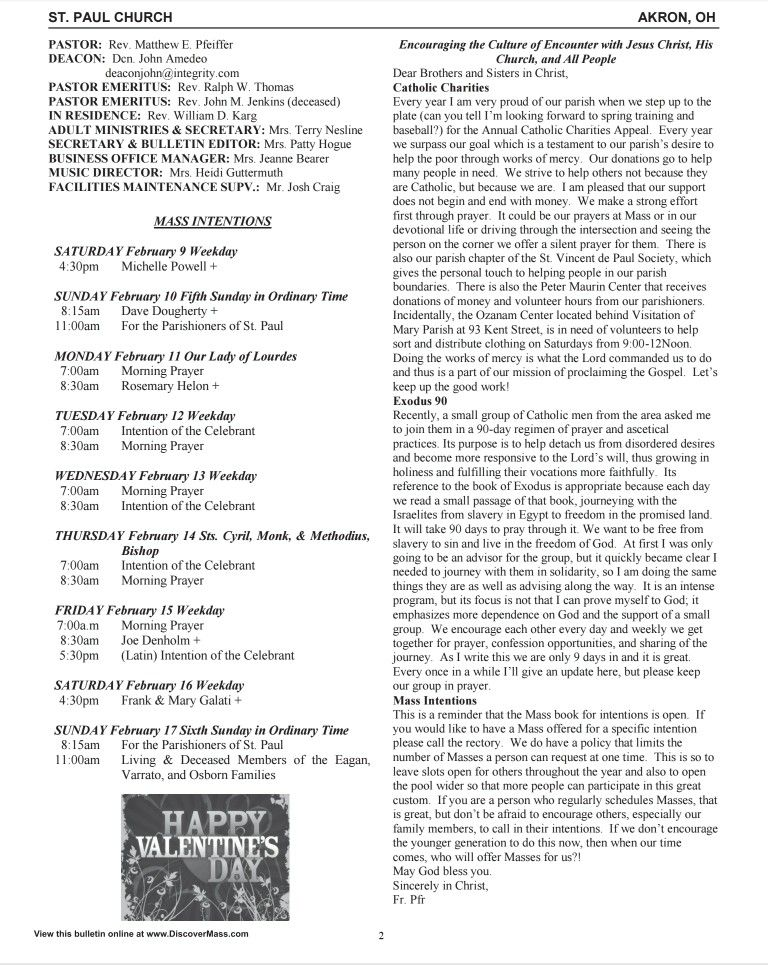St  Paul Catholic Parish Akron Bulletin February 10th