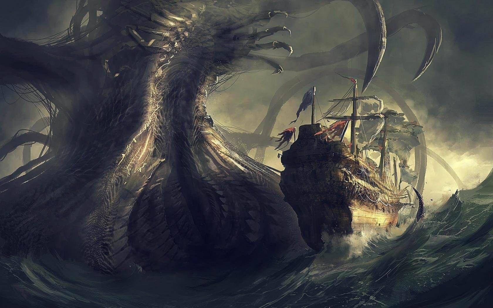 Sea Monster 16801050 Hdwallpaper Wallpaper Image Sea Monsters Water Illustration Old Sailing Ships