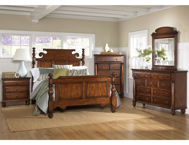 Wooden Bedroom In American Colonial Style