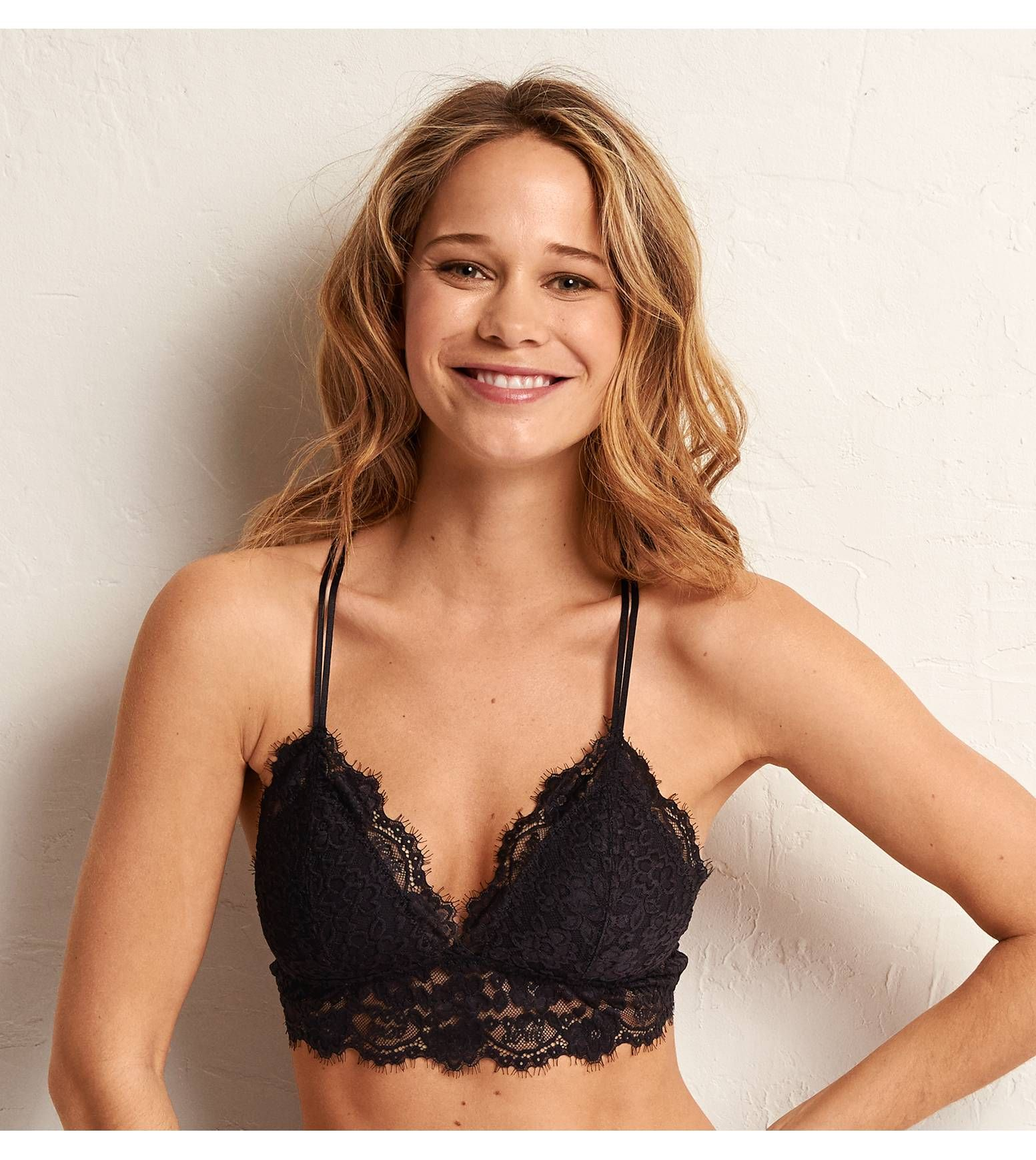 385491c562af9 True Black Aerie Romantic Lace Triangle Bralette