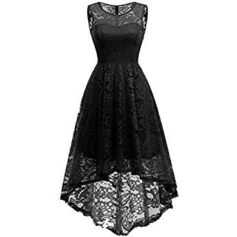 2e30116bf1c122 MUADRESS 6006 Women s Vintage Floral Lace Sleeveless Hi-Lo Cocktail Formal  Swing Dress M Black
