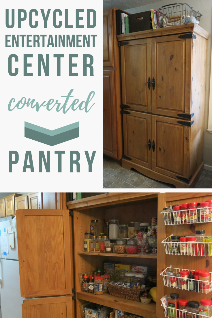 Upcycled Entertainment Center Into A Kitchen Pantry Diy Pantry Entertainment Center Kitchen Diy Entertainment Center